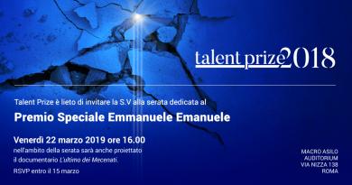 """Talent Prize 2018, premio speciale Emmanuele F.M. Emanuele e proiezione del documentario """"L'ultimo dei mecenati"""""""